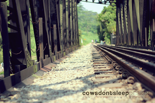 Down the railroad.