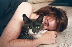 tailypo (Jacob Seaton) Tags: morning sleeping film girl cat fur am bed eyes furry women kitten kitty olympus baltimore sheets fujifilm pointandshoot olympusstylus morgana 200speed tailypo annablythemoore