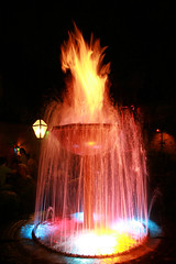 Fire Fountain (cseward) Tags: water fountain night dark fire la louisiana fireandwater flames neworleans spray nola fireandice firevswater
