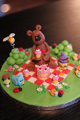Gum paste teddy bear picnic demo in BC (Andrea's SweetCakes) Tags: flowers mushroom cake picnic bee teddybear ladybugs snails honeypot gumpaste andreassweetcakes