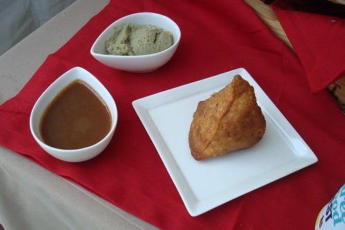 Naan Stop:  Samosas w/ Apple Tamarind and Spicy Coconut Chutney