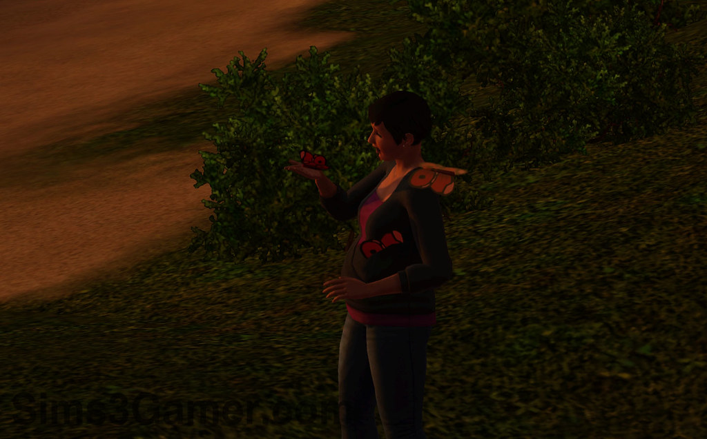 Sims 3 Gamer Cleo with butterflies and a sunset.