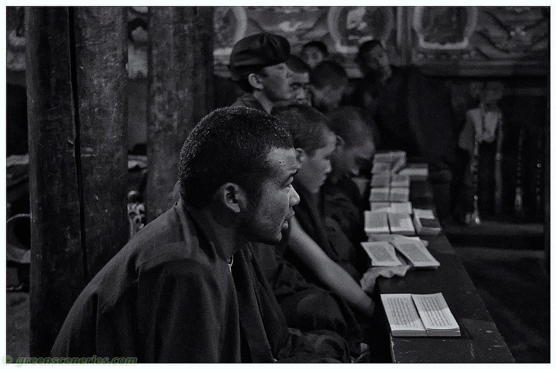 Monks at the Hemis Monastery (BW)