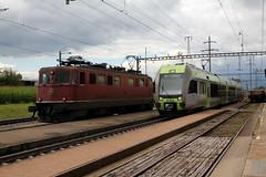 SBB Lokomotive Ae 6/6 11442 St. Gallen ( Hersteller SLM Nr. 4283 - Baujahr 1958 ) und S5 mit BLS Lötschberger 107 am Bahnhof in Müntschemier im Kanton Bern in der Schweiz (chrchr_75) Tags: train de tren schweiz switzerland suisse swiss eisenbahn railway zug sbb 66 locomotive bern juli christoph svizzera bls bahn berne treno ae chemin centralstation fer locomotora tog ffs rabe juna berna 535 1107 bundesbahn lokomotive lok ferrovia simplon spoorweg suissa locomotiva lokomotiv ferroviaria cff 鉄道 2011 locomotief kanton chrigu lötschberg поезд rautatie паровоз schweizerische zoug trainen kantonbern bärn niederflur lötschbergbahn железнодорожный chrchr ae66 nahverkehrszug hurni regionalverkehr chrchr75 bundesbahnen chriguhurni lötschberger albumblslötschbergbahn albumbahnenderschweiz2011