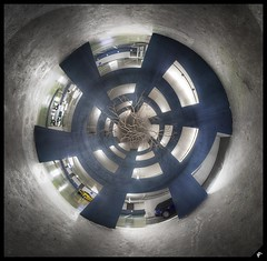 Parking (Achimar) Tags: panorama distortion tree car contrast photoshop canon spiral switzerland raw view stitch assemblage spin parking tripod sigma 360 lausanne projection 1020 arbre hdr voitures flon stereographic 500d hlice ptgui photomatix cs5 panosaurus bracked achillemarthaler