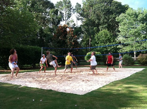Backyard Sand Volleyball Court : friends built a sand volleyball court right in their own backyard