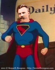 Nietzsche's Superman (kenneth_rougeau) Tags: silly goofy collage photoshop funny humorous collages digitalart humor cartoon philosophy superman cartoons philosopher nietzsche philosophers digitalcollage existential friedrichnietzsche uberman kennethrougeau existentialphilosophy