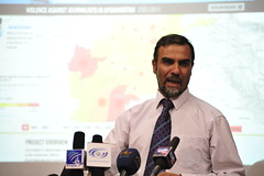 Sediqullah Tawhidi, the Head of Nai's Media Watch, announces the opening of data on violence against journalists in Afghanistan (DevelopmentSeed) Tags: afghanistan visualization mapping kabul internews opendata tilemill violenceagainstjournalists mapbox naimediawatch