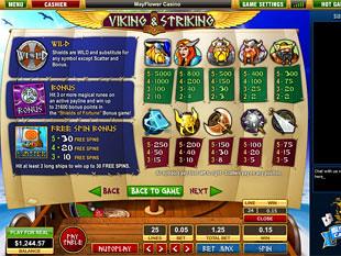 free Viking and Striking slot game paytable
