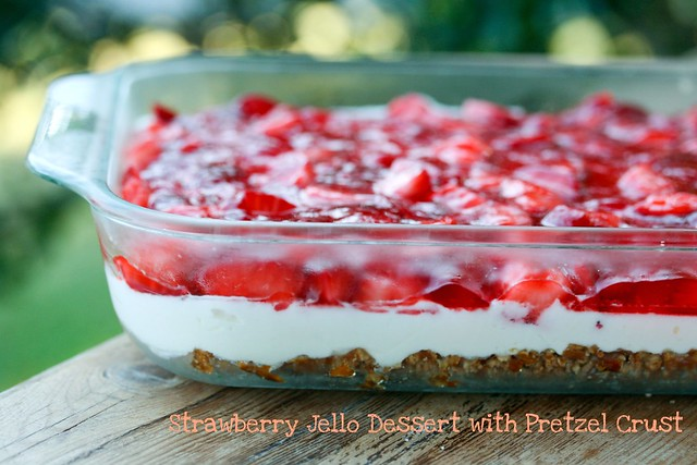 Strawberry Jello Dessert with Pretzel Crust