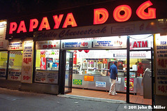 Papya Dog (jmillerdp) Tags: street city nyc newyorkcity urban ny newyork color night digital restaurant hotdog downtown exterior kodak manhattan midtown eastside papayadog dc280