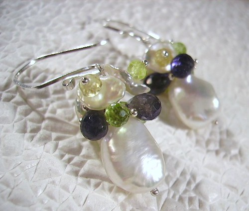 Fresh Water Pearls, Iolite, Peridot, Topaz,Keishi Pearls, Sterling Silver Earrings by OBTP-Jewelry