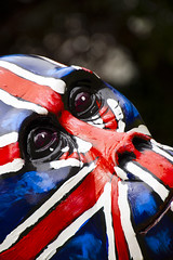 Urban Gorilla_8016_By Phil Ovens (Pitcher_Phil) Tags: blue red sculpture white texture beautiful face sponsored model eyes pattern gorilla handpainted ape stare colourful browneyes unionjack gaze nostrils silverback bristolblueglass