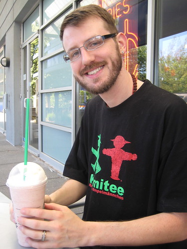 Craig and Strawberries N' Creme frapp