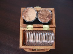 Smal wooden box with one ounce copper coins (newcopperbullion.com) Tags: woodenbox airtitecoincontainer