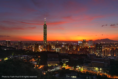 Taipei City at Sunset, Taiwan  July 28, 2011 (*Yueh-Hua 2015) Tags: camera sunset building tower architecture night skyscraper canon buildings eos leed fine taiwan 101  5d taipei taipei101 dslr         101    canoneos5d    greenon horizontalphotograph markins   l canonef1635mmf28liiusm  taipei101skyscraper taipei101internationalfinancialcenter sirui tigerpeak   photoclam ballheads n2204 pc44ns 2011july siruin2204 pc69up3 pg50cameraplate
