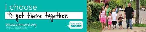 Walking promotion ad, bus shelter,  Bike Walk Move program, Minneapolis