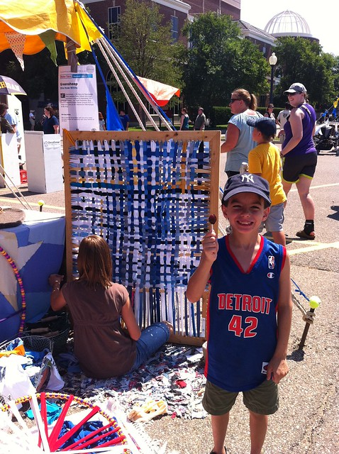 Giant weaving loom & Luke, Maker Faire Detroit