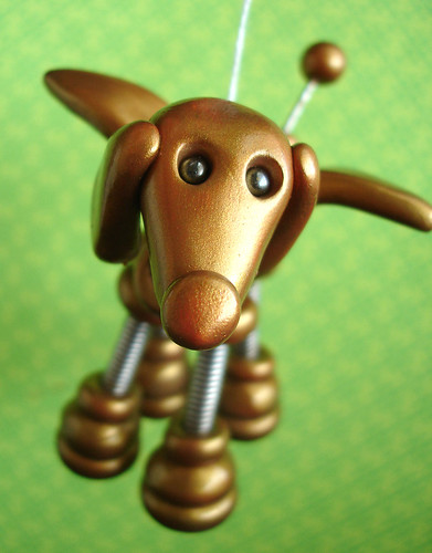Golden Gino Angel Robot Dog Hanging Ornament by HerArtSheLoves