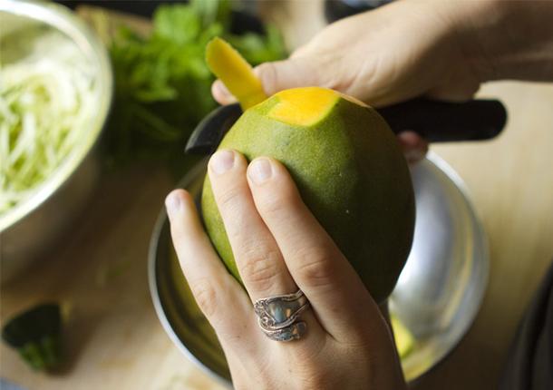 Peeling a mango