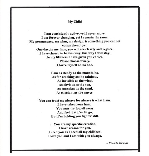 My Child Poem by Rhonda Thomas
