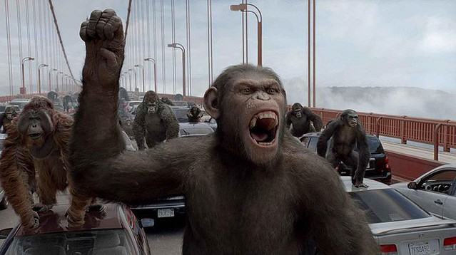 It's a showdown on the Golden Gate Bridge in 'Rise of the Planet of the Apes'.