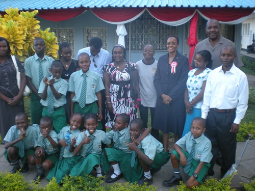 Our staff & pupils with Sister Gertrude