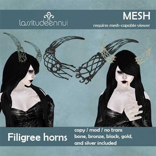 MESH filigree horns from Lassitude & Ennui