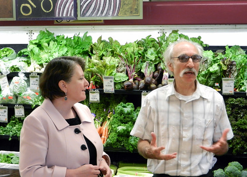 Agriculture Deputy Secretary Dr. Kathleen Merrigan with Alex Gyori, General Manager of Brattleboro Food Coop.