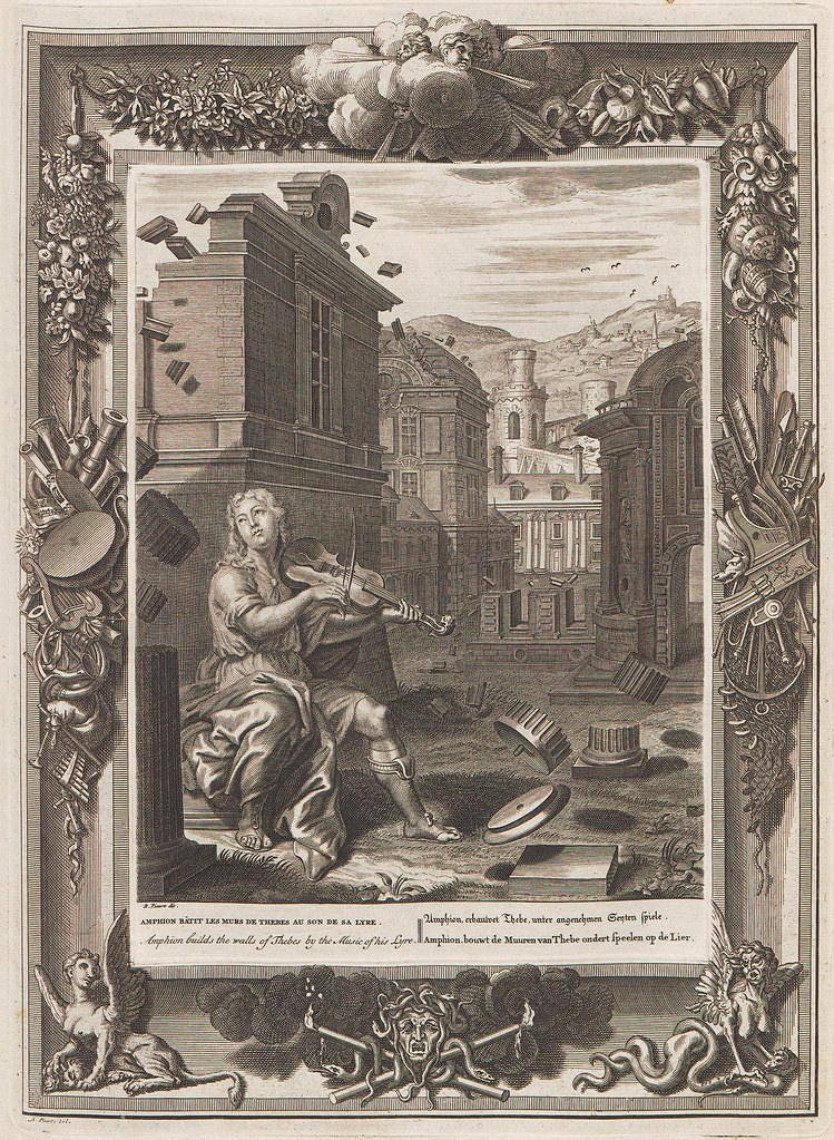 Bernard Picart engraving of seated person playing violin (+ ornate baroque border)