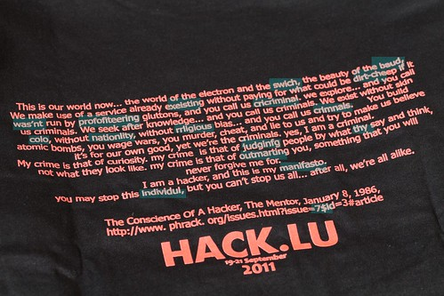 Try and Vet T-Shirt Cryptographic Contest at Hack.lu 2011
