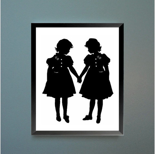 Tweedledee and Tweedledum Alice In Wonderland Silhouette Print
