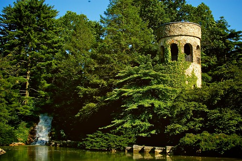 Chimes Tower and waterfall.