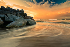 Breakwater, Noosa Main Beach (Matthew Post) Tags: ocean longexposure sunset seascape motion wall rocks waves australia queensland noosa sunshinecoast slowshutterspeed