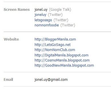 Websites in Facebook Account Information