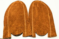 Completed vamp and sole (Wassookeag Moccasins) Tags: leather buffalo handmade howto bison moccasins howtomakemoccasins