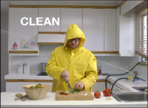 "The Food Safe Families campaign uses humorous public service announcements to capture the public's attention about a very serious subject. The ""clean"" PSA reminds consumers to clean kitchen surfaces, utensils, and hands with soapy water."