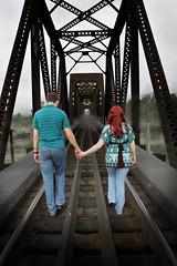 Creepy Engagement Photo (PhotographyByKelly) Tags: railroad bridge red portrait halloween engagement scary creepy richmondtxbridge