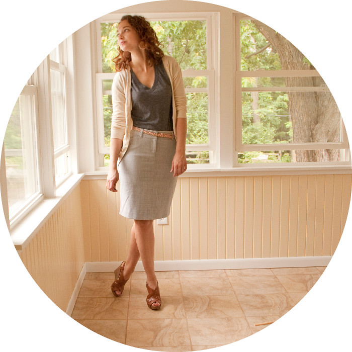 thirty! dashdotdotty corporate look outfit skinny belted pencil skirt and cardigan