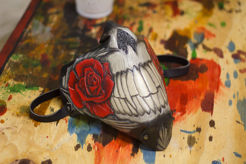 Rose and Teeth Biker Handmade Leather Mask