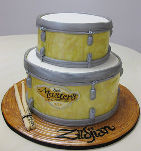 Sculpted Drums Tiered Cake
