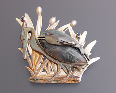Blue Heron Brooch (Wearable By Design) Tags: blue heron agate silver brooch jewelry jewellery pearl sterling sapphire finesilver