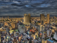 Osaka Sunset on Buildings (Michael Shea (sheaimages)) Tags: japan hdr