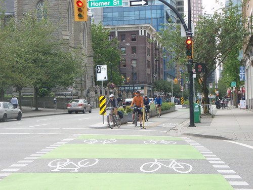 Dunsmuir Bike Lane: Cyclists Waiting at Red Light