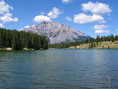 Johnson lake, Banff NP, Canada (Pixmac_com) Tags: wood trees summer sun canada mountains nature water sunshine weather clouds forest landscapes daylight rocks seasons horizon lakes bluesky nobody hills vegetation daytime summertime np nationalparks naturalworld castlemountain exteriors waterlevel mountainpeaks summits banffnp johnsonlake utdoors tipofthehills