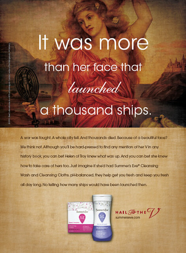 an ad from Summer's Eve featuring a painting of Helen of Troy. Text placed over her reads, 'It was more than her face that launched a thousand ships'