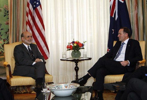 Federal Reserve chairman Ben Bernanke, left, meets with New Zealand Prime Minister John Key, right, at Blair House in Washington, Thursday, July 21, 2011.  (© AP Photo/Ann Heisenfelt)