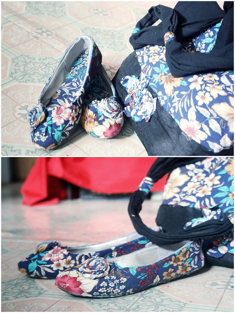 giầy vải hoa vs túi vải hoa