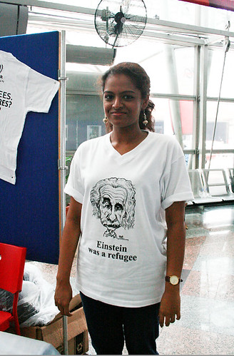 Albert Einstein caricature printed on UNHCR T-shirt - 1