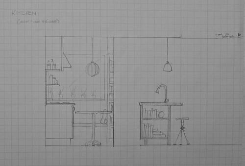Interior Drawing - Kitchen